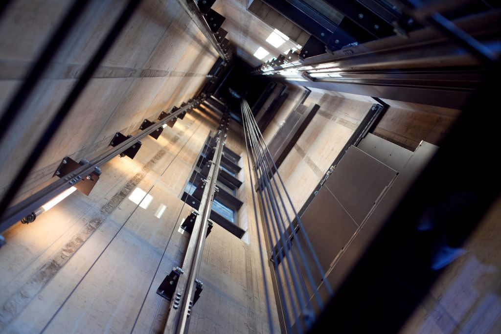 Inside a modern lift shaft.